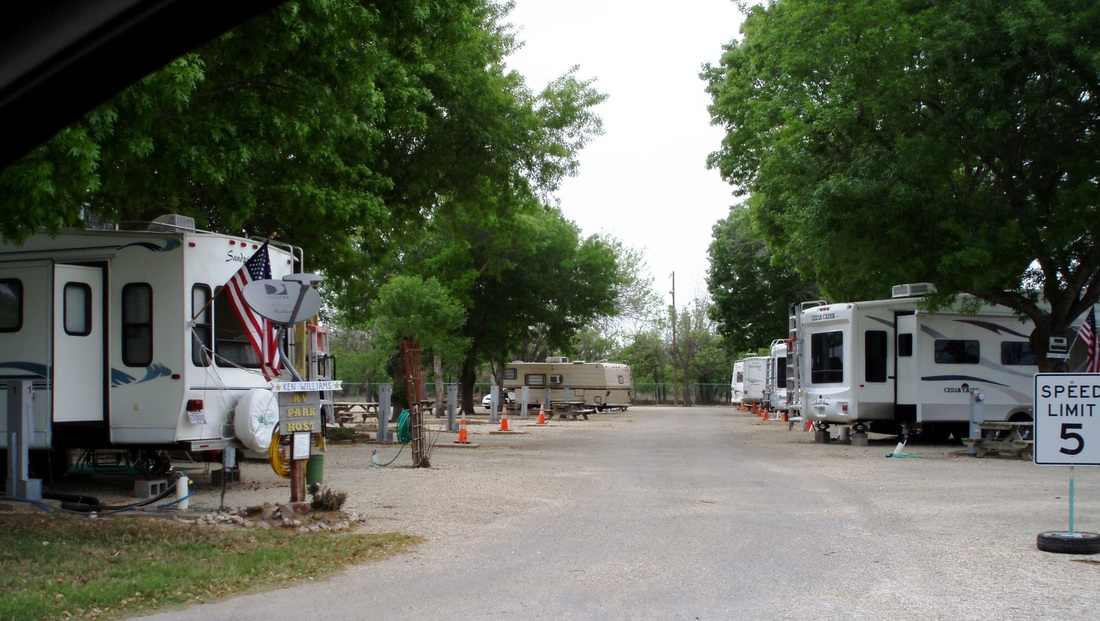 An RV park with RVs hooked up